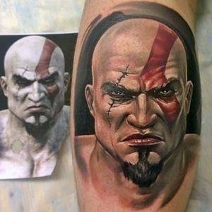 God of War tattoo by Alex Noir. #realism #colorrealism #AlexNoir #portrait #GodofWar