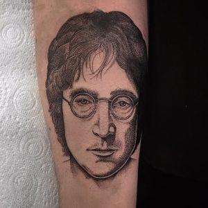 John Lennon Tattoo #johnlennon #johnlennontattoo #blackwork #blackworktattoo #blackink #illustrative #illustration #blacktattoos #blackworkartist #ThomasBates