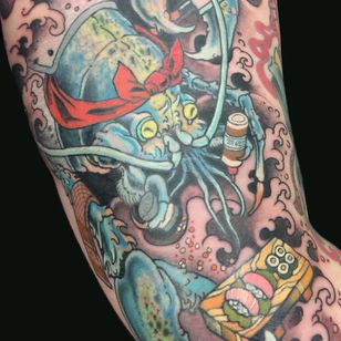 Tattoo by Wendy Pham #WendyPham #TaikoGallery #WenRamen #newtraditional #color #Japanese #mashup #lobster #sushi #chef #foodtattoo #sashimi #cook #waves #spices #oceanlife