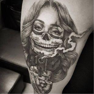 OG Abel tattoo by Tony Tonez #OGAbel #art #chicano #blackandgrey #TonyTonez #gun #skullgirl