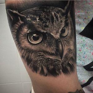Owl Tattoo by Samuel Rico #owl #owltattoo #blackandgrey #blackandgreyrealism #realism #animaltattoo #realisticanimal #realismanimaltattoo #blackandgreyanimal #SamuelRico
