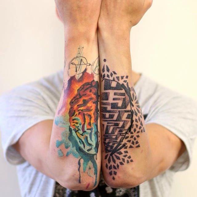 Brain Tattoo by Martynas Šnioka #brain #braintattoo #watercolor #watercolortattoo #abstract #abstracttattoo #graphic #graphictattoo #lithuanian #MartynasSnioka