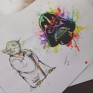 Aquela folha de Star Wars! #MarianaSilva #MarianaLeãozinho #TatuadorasDoBrasil #starwars #nerd #geek #yoda #darthvader #colorida #colorful #aquarela #watercolor