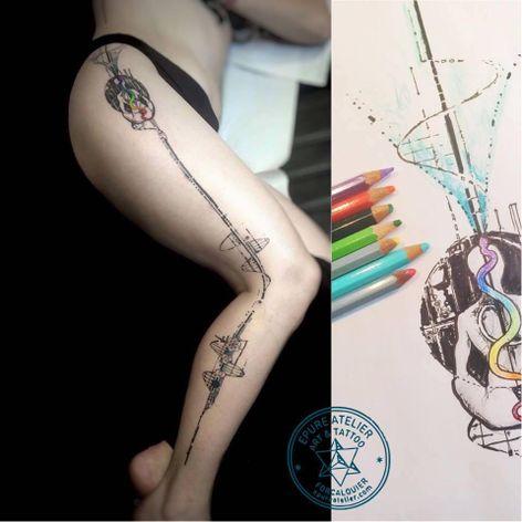 Graphic tattoo by Marie Roura #MarieRoura #graphic #spiritual #geometric