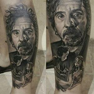 Tim Burton portrait tattoo #timburtontattoo #blackandgreytattoos #GabrielePais