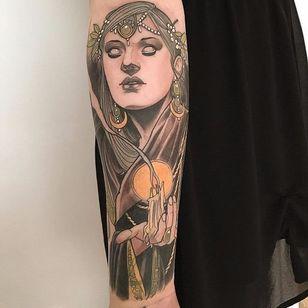 Mystic tattoo by Jurgen Eckel #JurgenEckel #neotraditional #lady