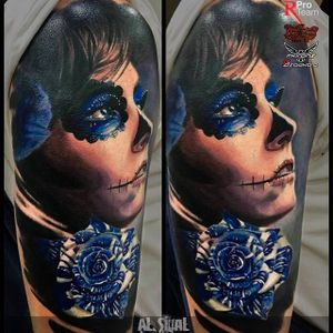 Dia de los Muertos inspired portrait tattoo #Deadgirl #coloredportrait #portrait #realistic #AlexandrRomashev