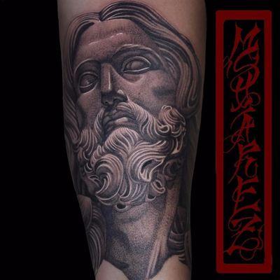 Bernini's Jesus by Michael Suarez #MichaelSuarez #blackandgrey #sculpture #statue #Bernini #jesus #religious #realism #realistic #hyperrealism #JesusChrist #SculptureTattoo #statuetattoo #portrait #tattoooftheday