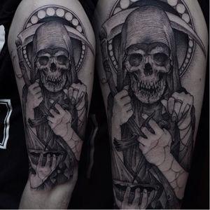 Grim Reaper tattoo by Robert A. Borbas #RobertABorbas #blackwork #blckwrk #macabre #grimreaper #skull #death