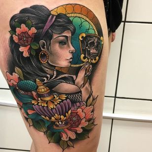Classic Lady Tattoo by Daryl Watson #lady #neotraditional #neotraditionalartist #contemporary #stylish #bold #DarylWatson