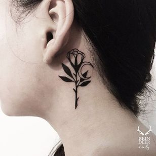 Rose and crescent moon behind the ear blackwork tattoo by Nudy. #Nudy #crescentmoon #crescent #moon #behindtheear #rose