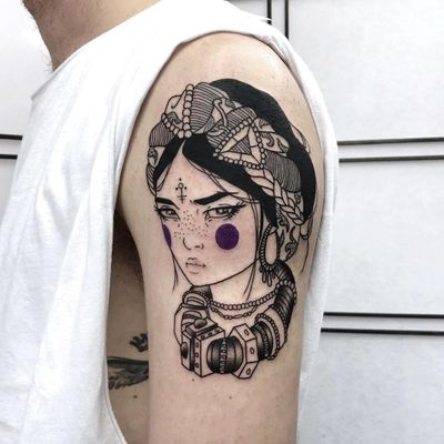 Tribal princess tattoo by Silly Jane #SillyJane #blackfill #linework #lady #portrait #Japanese #newtraditional #mashup #manga #graphic #crown #headwrap #jewelry #necklace #tribal #primitive #symbol #purpleink