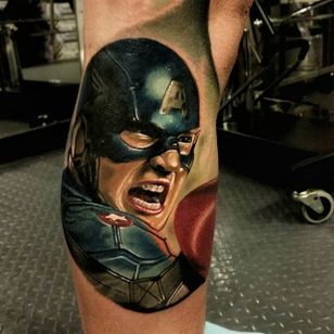 Captain America Tattoo by Christopher Bettley #CaptainAmerica #Portrait #PortraitTattoos #ColorPortraits #PortraitRealism #ChristopherBettley