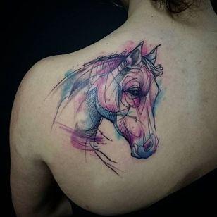 Horse Tattoo by Loreen2l #horse #horsetattoo #watercolorhorse #watercolor #watercolortattoo #sketch #sketchtattoo #watercolorsketch #sketchwatercolor #abstractwatercolor #Loreen2L