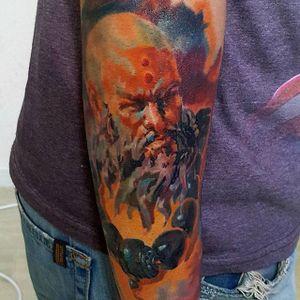 One for the gamers. Painterly style monk tattoo from Diablo III. By Kobay Kronik. #painterly #realism #gaming #diablo3 #diablo #KobayKronik