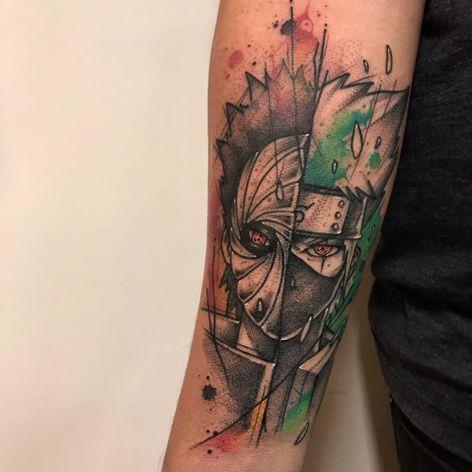 Obito e Kakashi de Naruto #GustavoTakazone #brasil #brazil #brazilianartist #tatuadoresdobrasil #aquarela #watercolor #sketchstyle #estilorascunho #colorido #colorful #nerd #geek #naruto #kakashi #obito