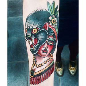 Panther portrait tattoo by Mario Teide. #MarioTeide #americantraditional #bizarre #weird #unconventional #traditional #panther #woman #portrait