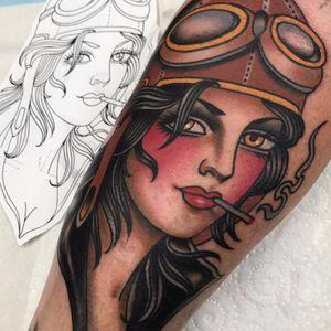 Hawt aviator by Johnny Farq #johno #johnnyfarq #color #traditional #lady #aviator #portrait #woman #cigarette #smoke #coverup #tattoooftheday