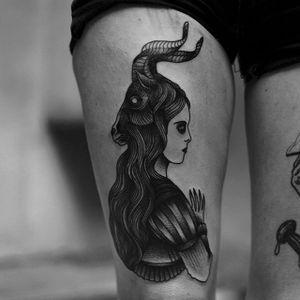 Demonic by Happypets (via IG-happypetsink) #blackink #illustrative #traditional #macabre #sinister #dark #happypetsink