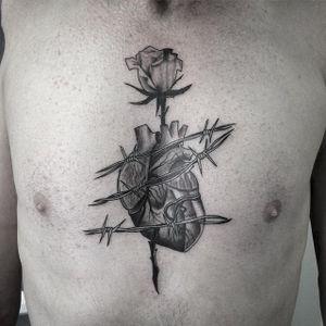 Heart Tattoo by Joel Spiteri #heart #anatomicalheart #rose #barbedwire #neotraditional #blackwork #blackneotraditional #blackink #blackworkartist #JoelSpiteri