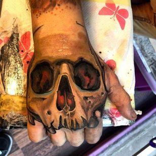 Skull in progress by Szejn Szejnowski @szejno #skull #skulltattoo #color #SzejnSzejnowski