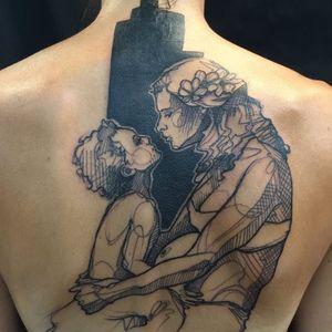 Contemporary tattoo by L'oiseau #Loiseau #contemporary #graphic #sketch #monochromatic #monochrome #mother