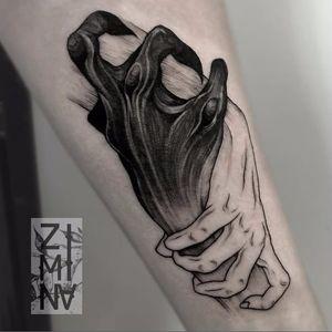Blackwork tattoo by Zhenya Zimina #blackwork #btattooing #hand #hands #holdinghands #zhenyazimina #blckwrk #darkartist
