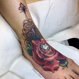 Rose and diamond tattoo by Jenna Kerr #JennaKerr #rosetattoos #color #newtraditional #ornamental #linework #filigree #rose #flower #leaves #floral #nature #diamond #jewel #sparkles #crystal #tattoooftheday