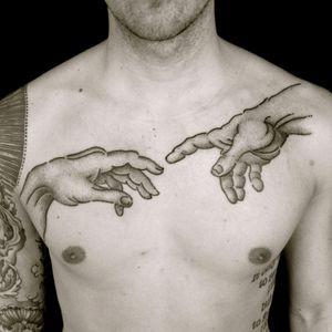 Dotwork Michelangelo hands tattoo by Adam Sage #AdamSage #michelangelohands #michelangelo #sistinechapel #creationofadam #adam #god #hands #fineart #painting #art #dotwork