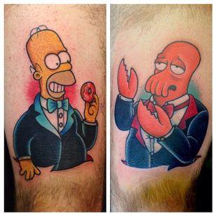 Homer and Zoidberg, Why not Zoidberg? #Futurama #Zoidberg #FuturamaTattoo #ZoidbergTattoo #MattGroening