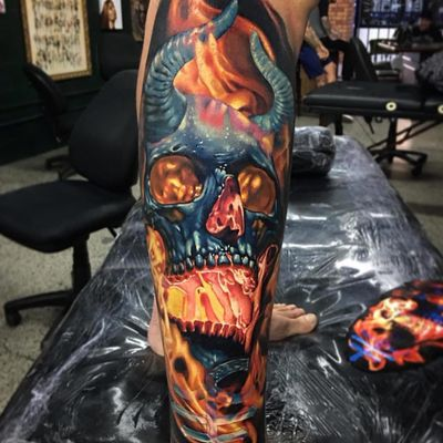 Hell fire tattoo by Ben Kaye #BenKaye #darkarttattoos #realism #realistic #hyperrealism #skull #bones #death #hell #fire #burning #burn #horns #satan #demon #devil #ghoul #tattoooftheday