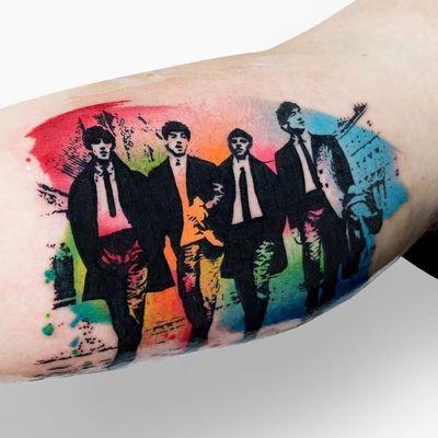 The Beatles tattoo by Szymon Gdowicz #SzymonGdowicz #szymgo #musictattoos #color #graphicart #popart #TheBeatles #music #rockandroll #60s #watercolor