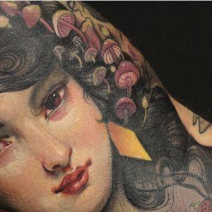 Details by Aimèe Cornwell #AimeeCornwell #color #artnouveau #ladyhead #lady #mushroom #tattoooftheday