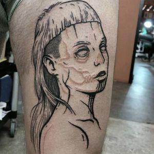 Yolandi tattoo by Mr. Heggie. #MrHeggie #blackwork #uk #british #alternative #contemporary #dieantwoord