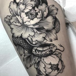 Snake and Peonies tattoo by Henbo Henning #HenboHenning #flowertattoos #blackwork #linework #dotwork #snake #reptile #peony #flowers #floral #nature