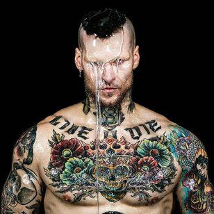 He can even pull off high fashion shots Photo by Mike Ruiz #MarshallPerrin #tattoomodel #tattooedguys #firefighter #traditionaltattoo #tattoododudes #MikeRuiz