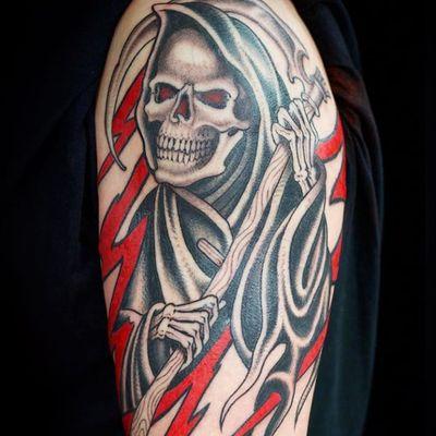 Reaper by Jordan Baxter #JordanBaxter #oldschool #blackandgrey #skull #reaper #scythe #death #bones #skeleton #lightning #red #tattoooftheday