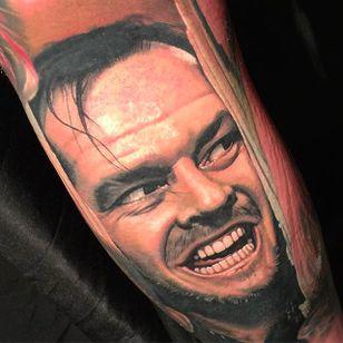 "Jack Nicholson Tattoo from the movie ""The Shining"" by Nikko Hurtado @NikkoHurtado #NikkoHurtado #Cinematic #Portrait #JackNicholson #TheShining"