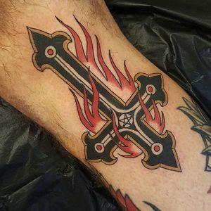 Satanic Cross Tattoo by Jesper Jørgensen #cross #crosstattoo #traditional #traditionaltattoo #oldschool #oldschooltattoo #darkart #darktraditional #JesperJorgensen