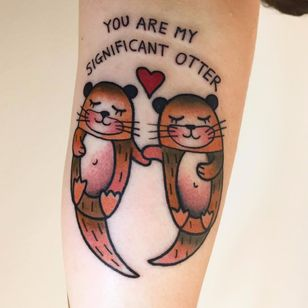 Cutest otters by Amanda Toy #AmandaToy #newtraditional #color #text #font #quote #love #otter #oceanlife #heart #nature #couple #coupletattoo #animal #tattoooftheday