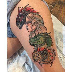 Daenerys Targaryen tattoo by Torie Wartooth. #daenerys #targaryen #daenerystargaryen #gameofthrones #GOT #khaleesi #dragon #neotraditional