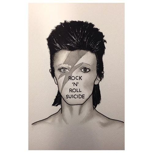 David Bowie by Jeremy D (via IG-jeremy_d_) #davidbowie #musician #lyrics #celebrityportrait #flashart #flash #JeremyD #flashfriday