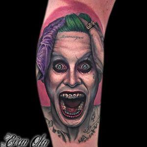 Suicide Squad tattoo by Evan Olin. #EvanOlin #suicidesquad #dc #popculture #comics #film #movie #joker #jaredleto #colorrealism
