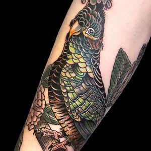 Cute lil bird by Fabien Grezyn #FabienGrezyn #color #realism #realistic #bird #feathers #wings #nature #leaves #branch #pinecone #tattoooftheday