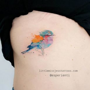Watercolor bird tattoo by Jess Hannigan #JessHannigan #bird #watercolor #pastel