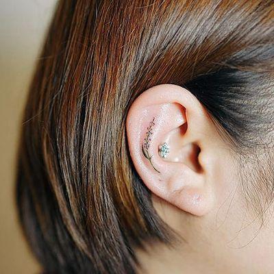 Ear bud by Nando Tattoo (via IG-nandotattooer) #tinytattoo #microtattoo #flora #fauna #NandoTattoo