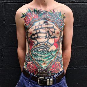 Nautical love by Kirk Jones #KirkJones #traditional #color #roses #flowers #leaves #mandala #boat #ship #ocean #sea #sky #landscape #flag #pattern #frame #nautical #oceantattoo #tattoooftheday
