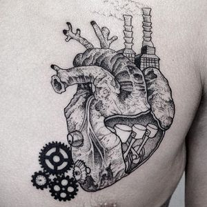 Mechanical anatomical heart tattoo by Vytautas Vy. #VytautasVy #blackwork #anatomicalheart #mechanical #industrial
