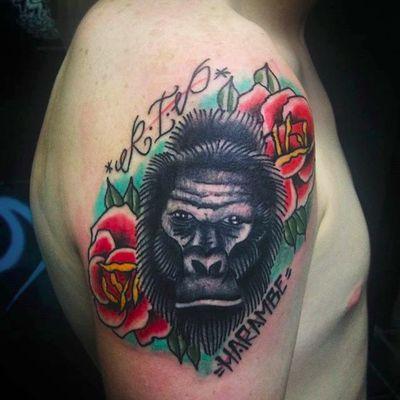 Harambe memorial by Justo Sedano (via IG -- the_box_tattoos) #Justosedano #gorilla #gorillatattoo