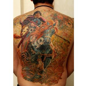 Photo-Realistic Warrior Tattoo By Iwan Yug #fantasy #warriortattoo #IwanYug #photorealistictattoos #realistictattoos #3Dtattoos